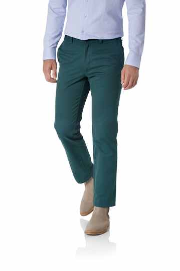 Teal slim fit flat front washed chinos