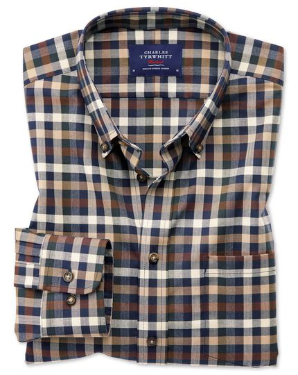Extra slim fit button-down non-iron twill brown multi check shirt