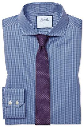 Extra slim fit cutaway non-iron puppytooth royal blue shirt