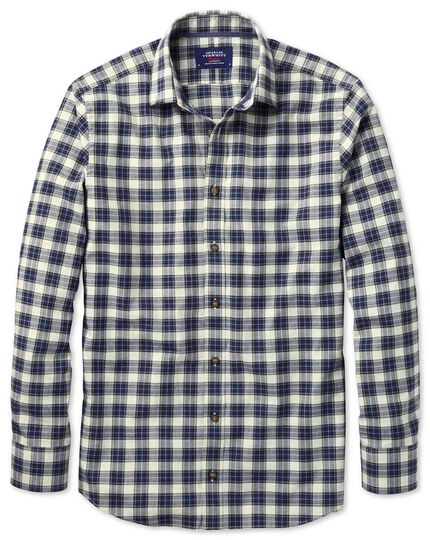 Classic fit heather plaid silver and blue check shirt