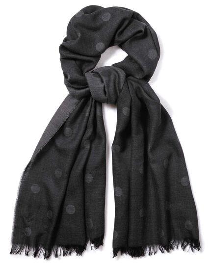 Écharpe légère gris à pois en laine mérinos
