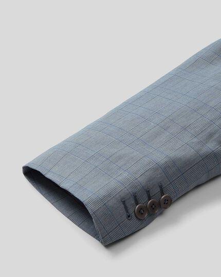 Anzugsakko aus Wolle & Leinen mit Karos - Himmelblau