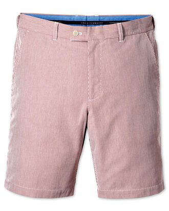 Red slim fit harline stripe shorts