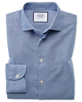 Slim fit business casual leno texture blue shirt