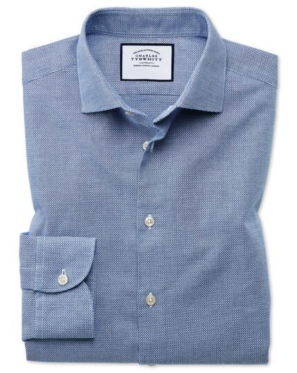 Chemise business casual bleue extra slim fit à texture gaze