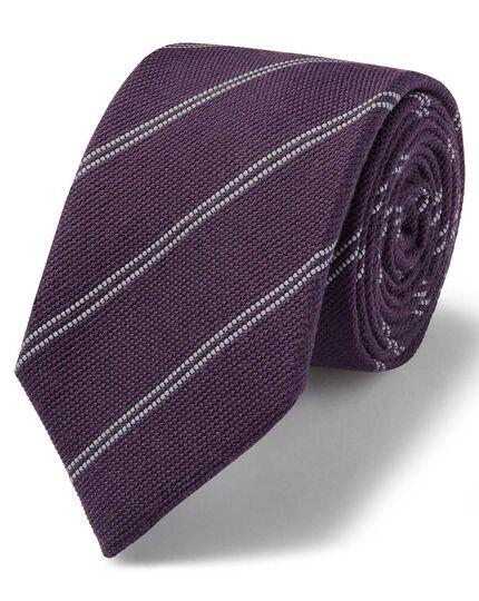 Purple and white wool silk fine stripe classic tie