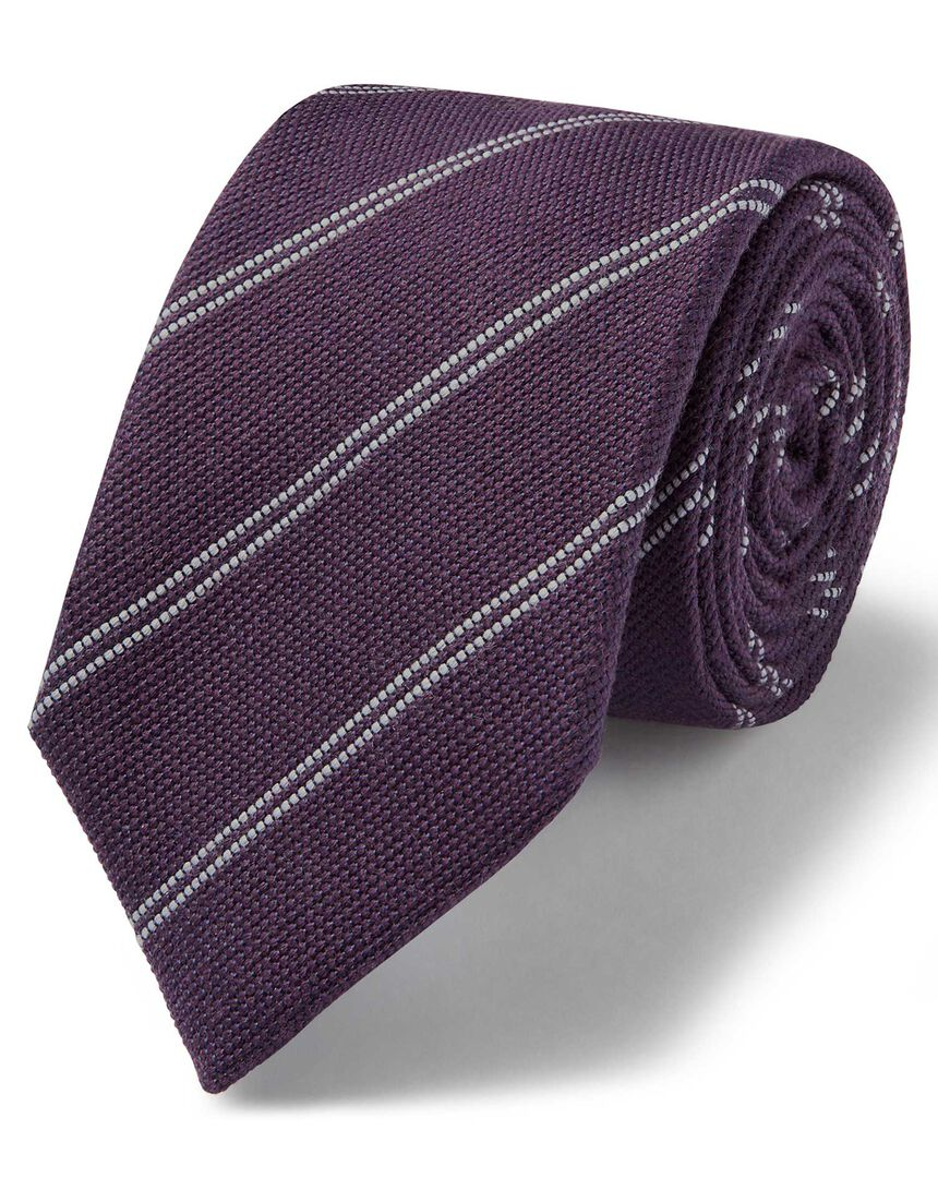 Purple and white wool silk fine stripe classic tie