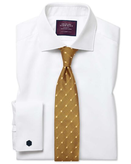 Slim fit white luxury twill shirt
