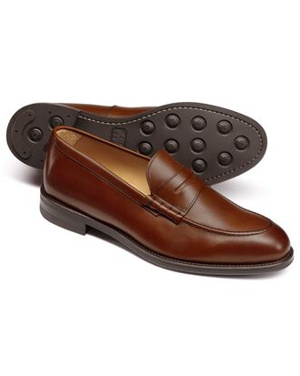 Chestnut penny loafers