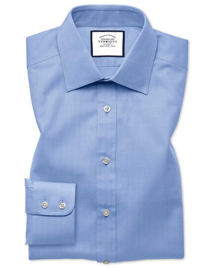 Extra slim fit sky blue fine herringbone shirt