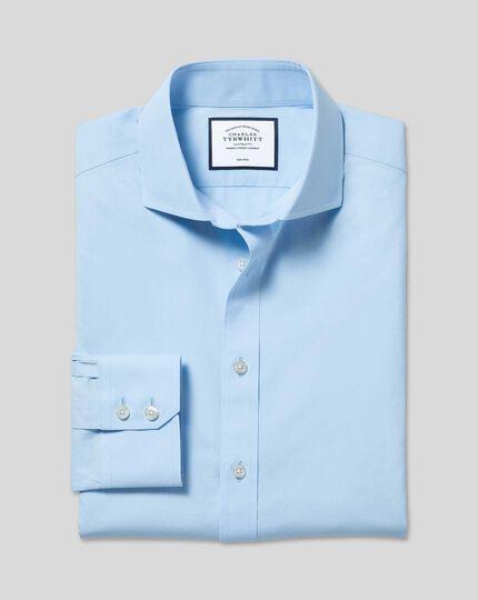 Spread Collar Non-Iron Poplin Shirt  - Sky