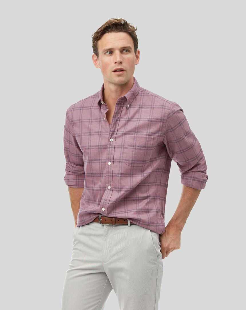 Vorgewaschenes bügelfreies Twill Hemd mit Button-down-Kragen und Karos - Beerenrot