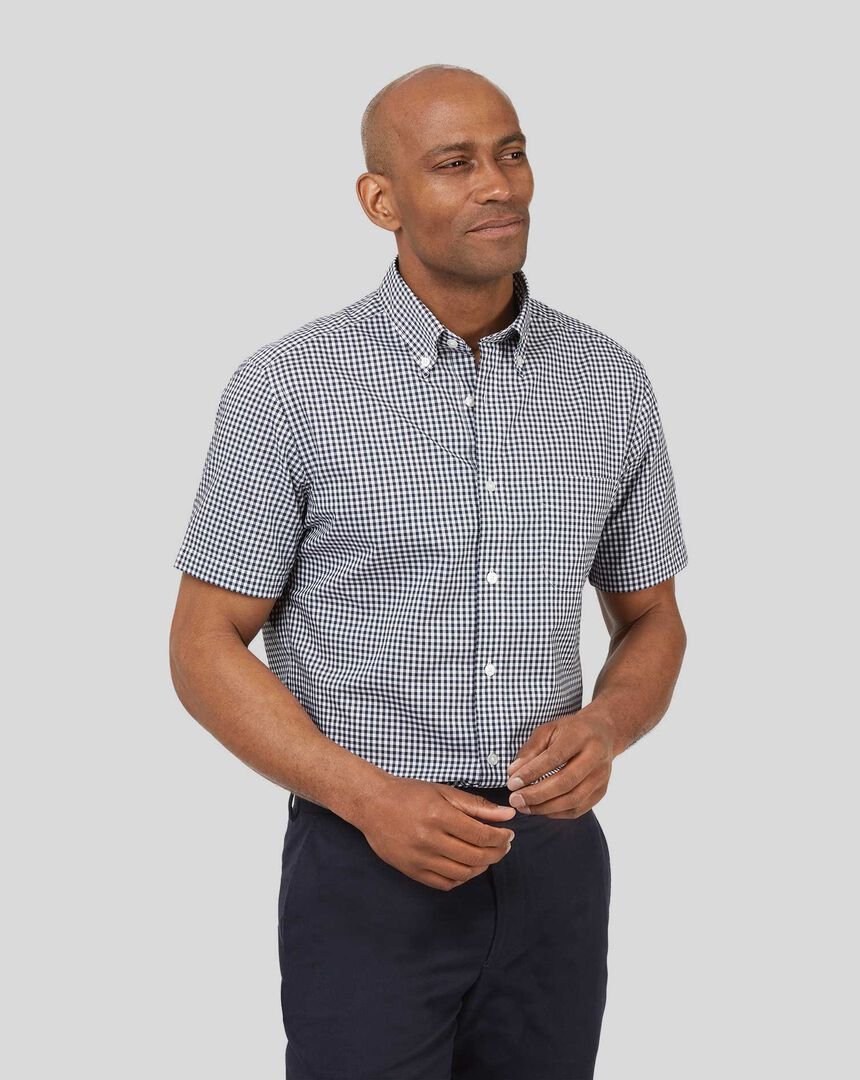 Button-Down Collar Short Sleeve Soft Washed Stretch Poplin Check Shirt - Navy