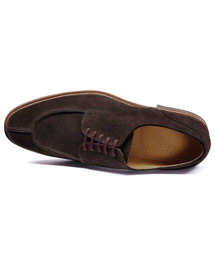Chocolate suede split toe Derby shoe