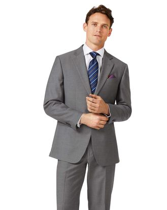 Grey classic fit twill business suit jacket