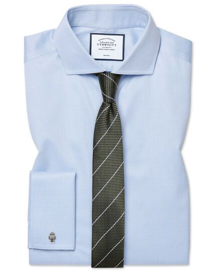 Extra slim fit non-iron spread collar sky blue puppytooth shirt