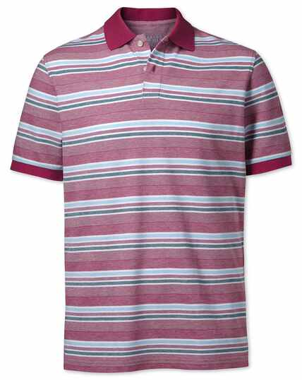 Berry textured striped polo