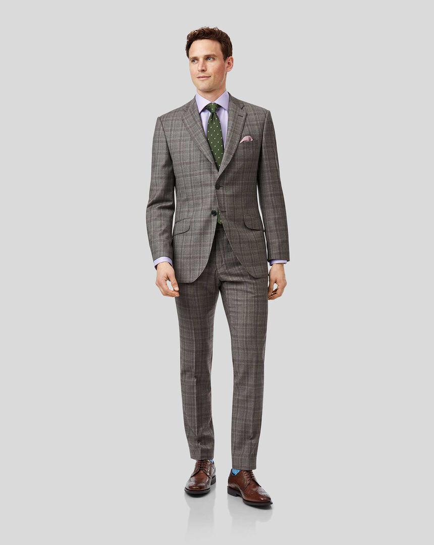 Prince of Wales Check Italian Suit - Grey