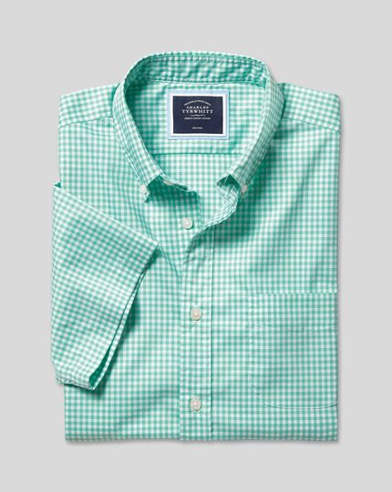 Button-Down Collar Non-Iron Stretch Poplin Gingham Short Sleeve Shirt - Light Green