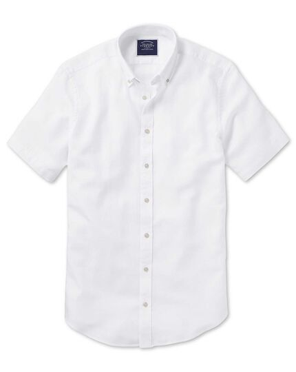 Classic fit white cotton linen twill short sleeve shirt