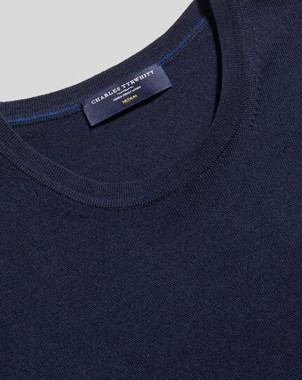 Merino Crew Neck Sweater - Navy