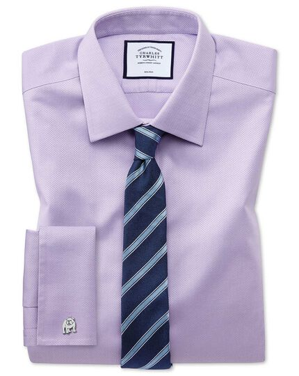 Super slim fit non-iron lilac triangle weave shirt
