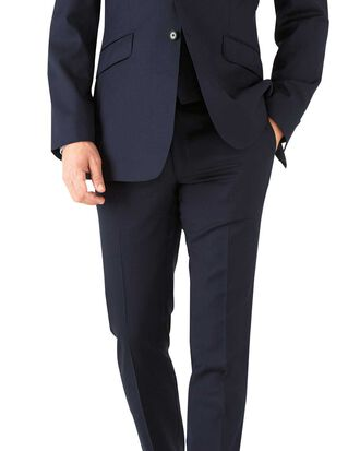 Navy herringbone slim fit Italian suit