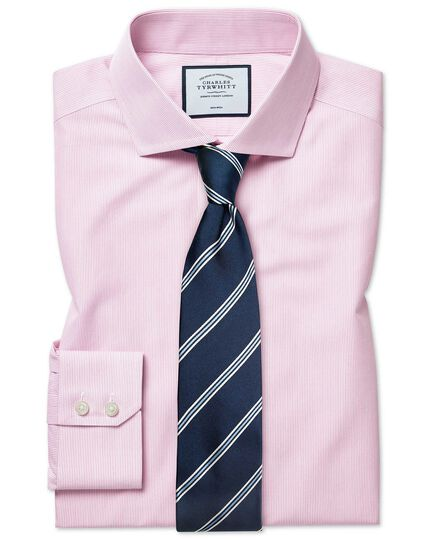 Classic fit non-iron Tyrwhitt Cool poplin pink stripe shirt