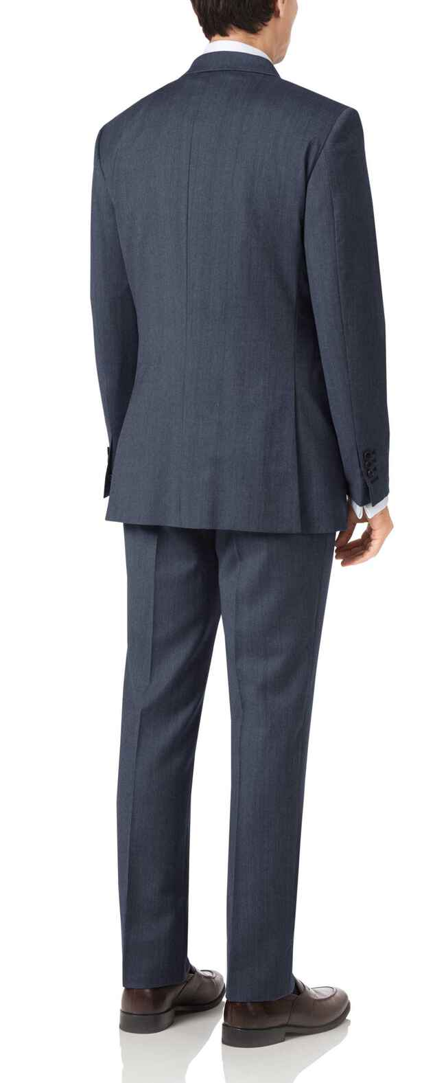 Slim Fit Business Anzug aus Twill in Blau