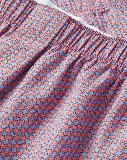 Starfish Motif Woven Boxers - Sky