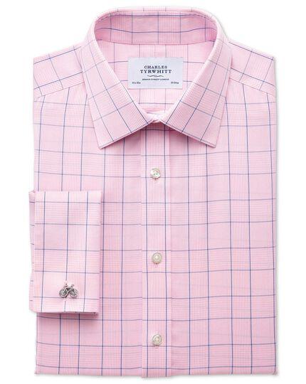 Bügelfreies Extra Slim Fit Hemd in Rosa und Blau mit Prince-of-Wales-Karo