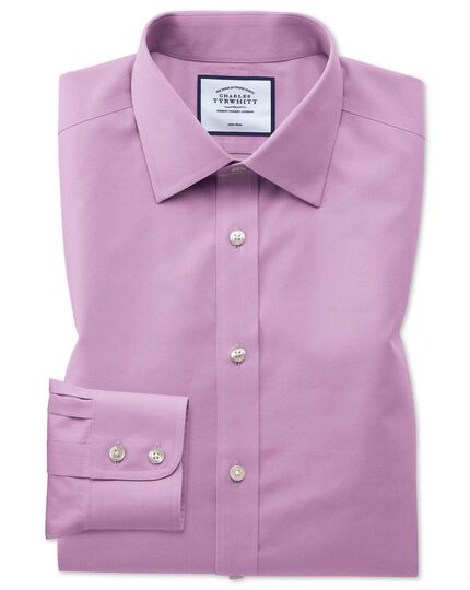 Classic fit non-iron violet poplin shirt