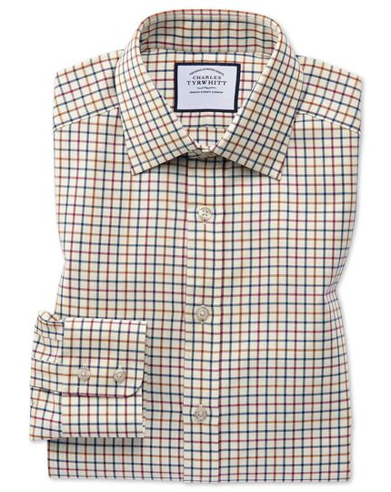 Classic fit navy and berry country check shirt