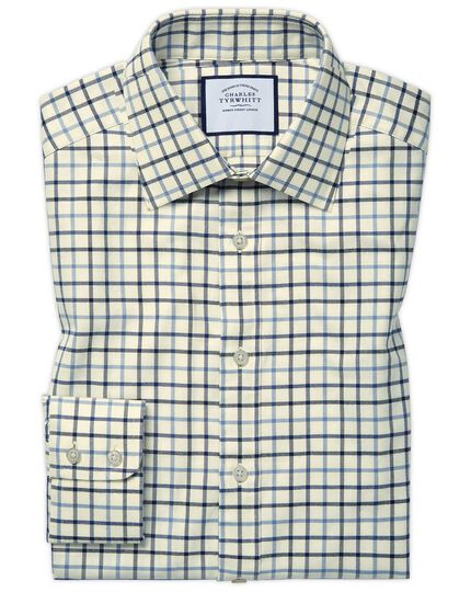 Chemise bleue à carreaux coupe droite