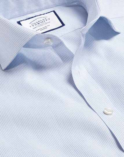 Cutaway Collar Non-Iron Cotton Stretch Oxford Stripe Shirt - Sky