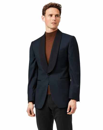 Teal jacquard slim fit shawl collar dinner suit jacket