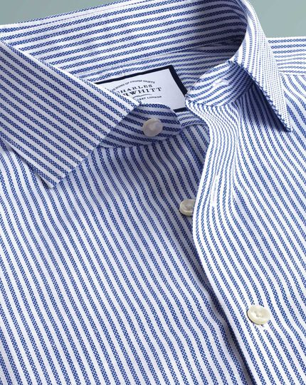 Slim fit business casual non-iron cotton linen blue and white stripe shirt