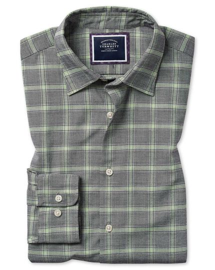 Classic fit cotton with TENCEL™ grey and green Prince of Wales check shirt