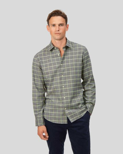 Slim fit cotton with TENCEL™ grey and green Prince of Wales check shirt