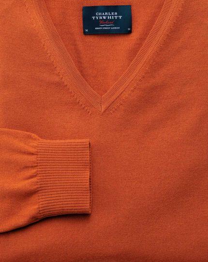 Orange merino wool v-neck sweater