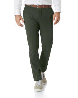 Pantalon chino vert foncé à devant plat extra slim fit sans repassage