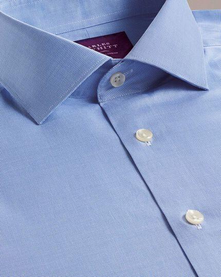 Chemise de luxe bleue à petit motif pied-de-poule coupe droite