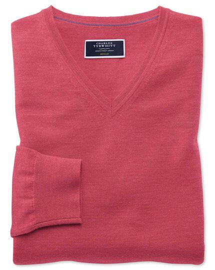 Coral merino v-neck sweater