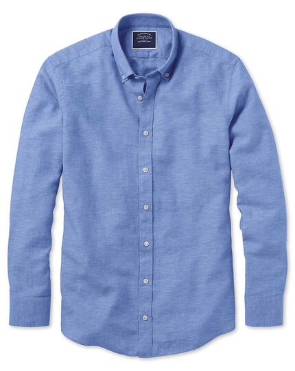 Slim fit bright blue cotton linen twill shirt