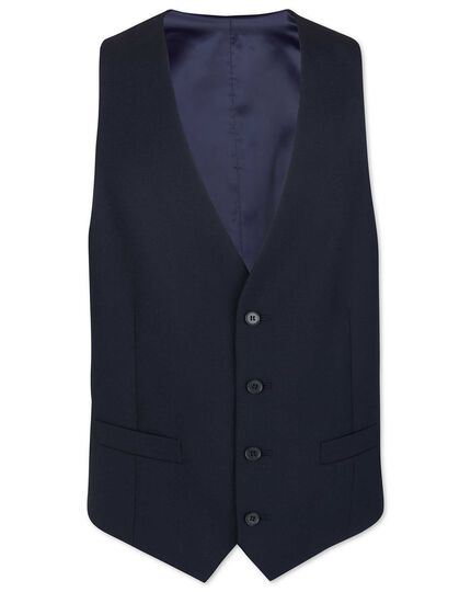 Midnight blue adjustable fit merino business suit waistcoat