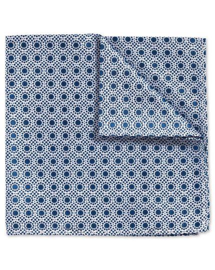 Klassisches Einstecktuch aus Fil-à-Fil-Gewebe in Königsblau und Weiß mit Punkten