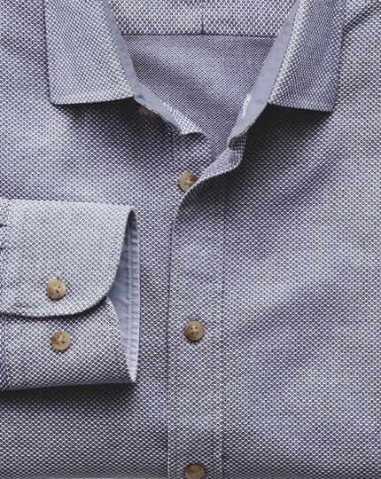 Slim fit washed textured denim blue shirt