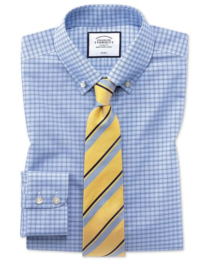 Classic fit non-iron button-down sky blue check shirt
