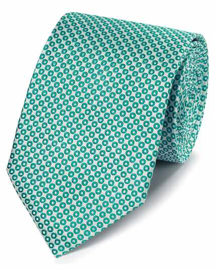 Green and white circle design classic tie
