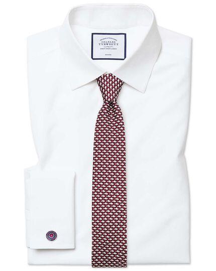 Extra slim fit white non-iron poplin shirt